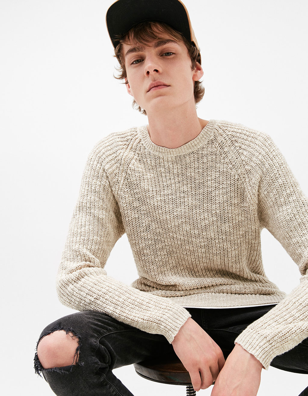 Ribbed and flecked sweater