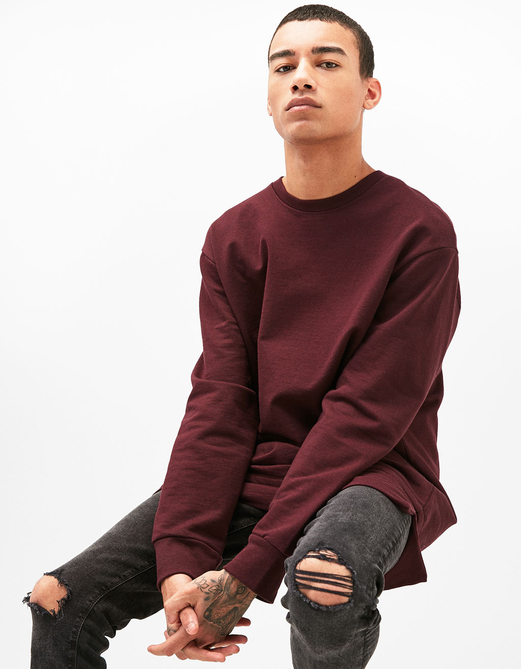 Long fit double layered sweatshirt
