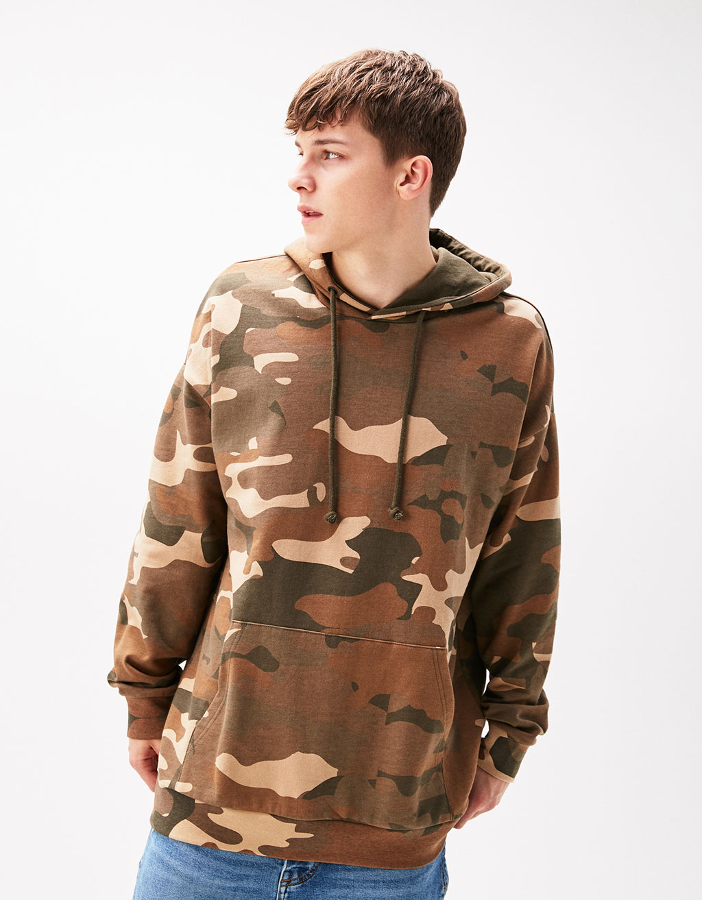 Sweatshirt with camouflage hood