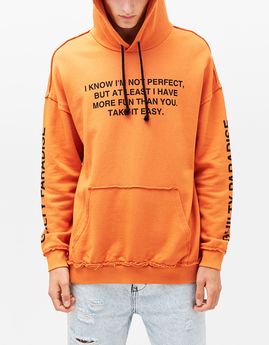 Slogan sweatshirt with hood