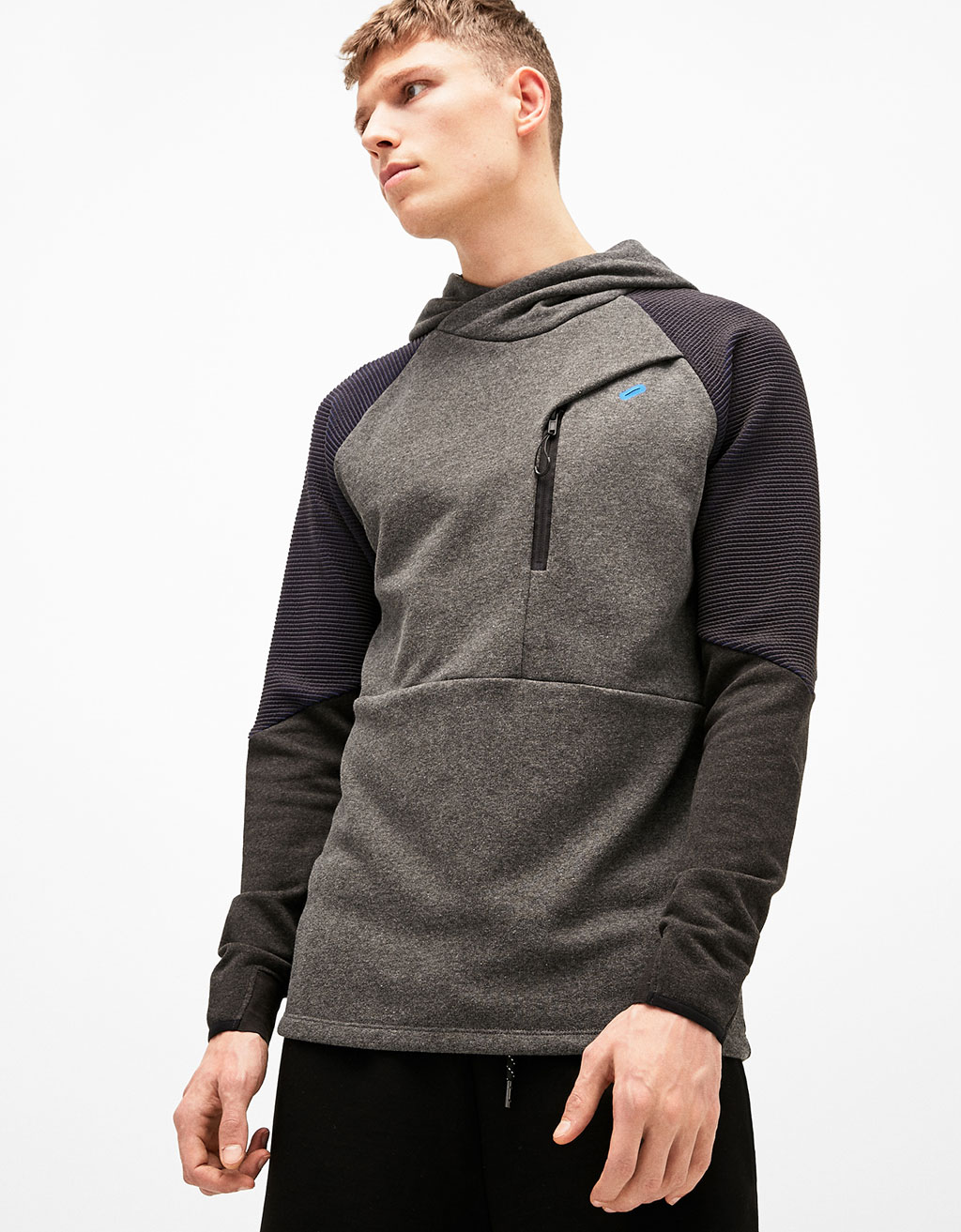 Hooded sweatshirt with technical texture