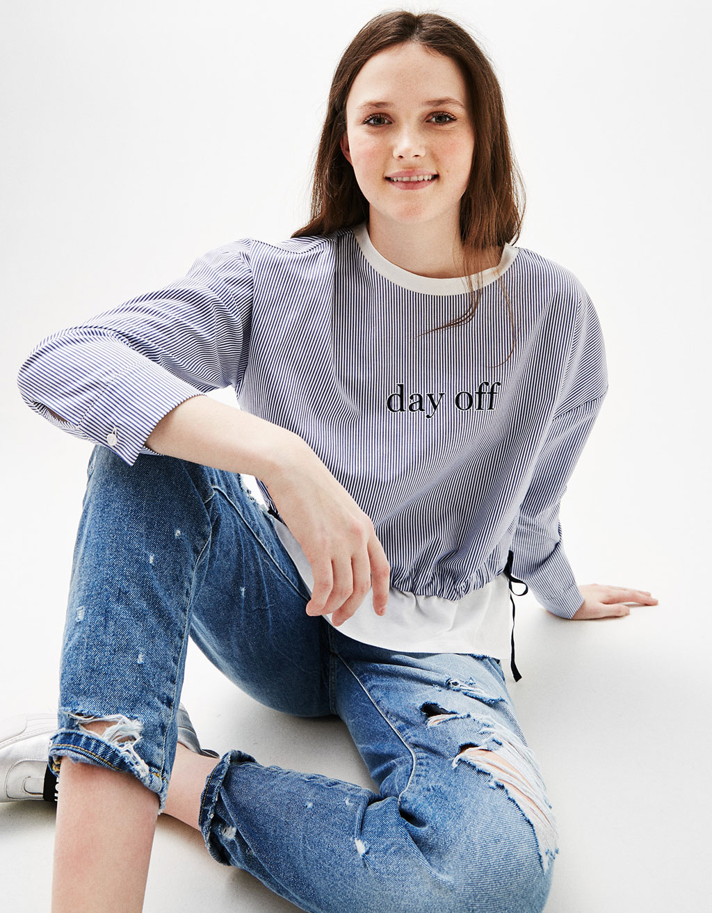 Contrast T-shirt with text