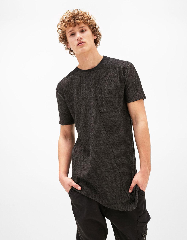 Contrast asymmetric T-shirt