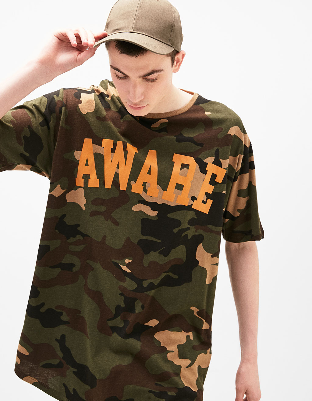 Camouflage T-shirt with slogan