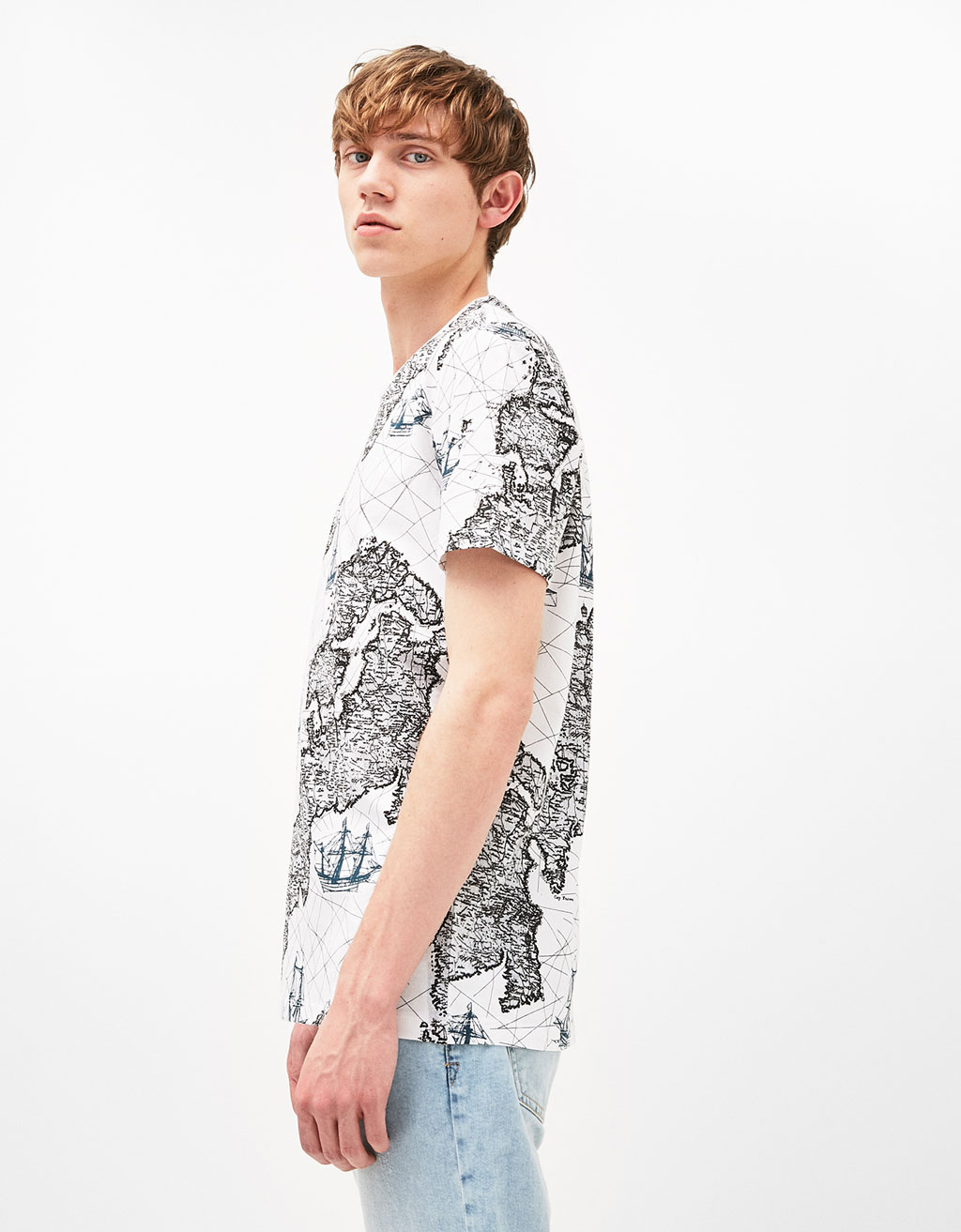 Maps and leaves T-shirt
