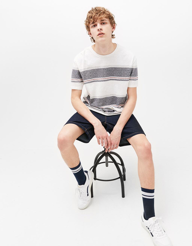 Jacquard-effect striped t-shirt