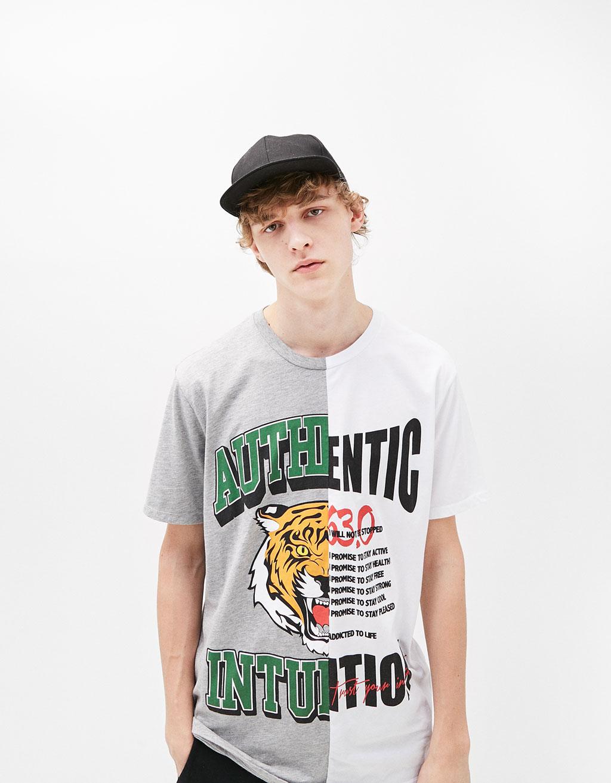 Contrasting print t-shirt
