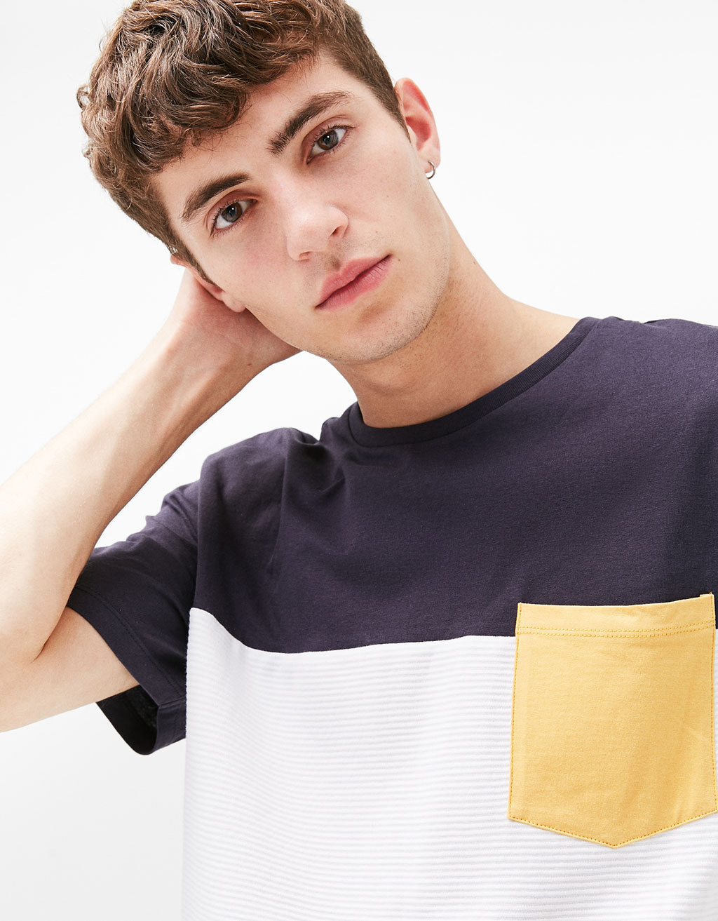 Colour block textured T-shirt