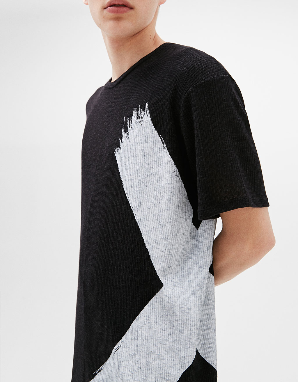 Ribbed printed T-shirt