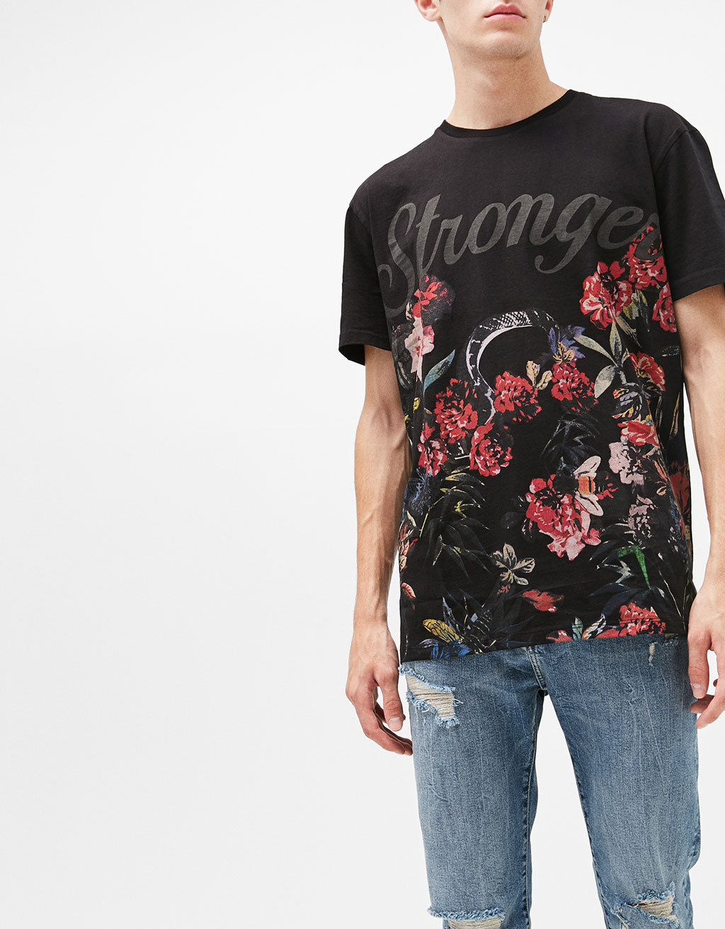 'Stronger' T-shirt with floral print