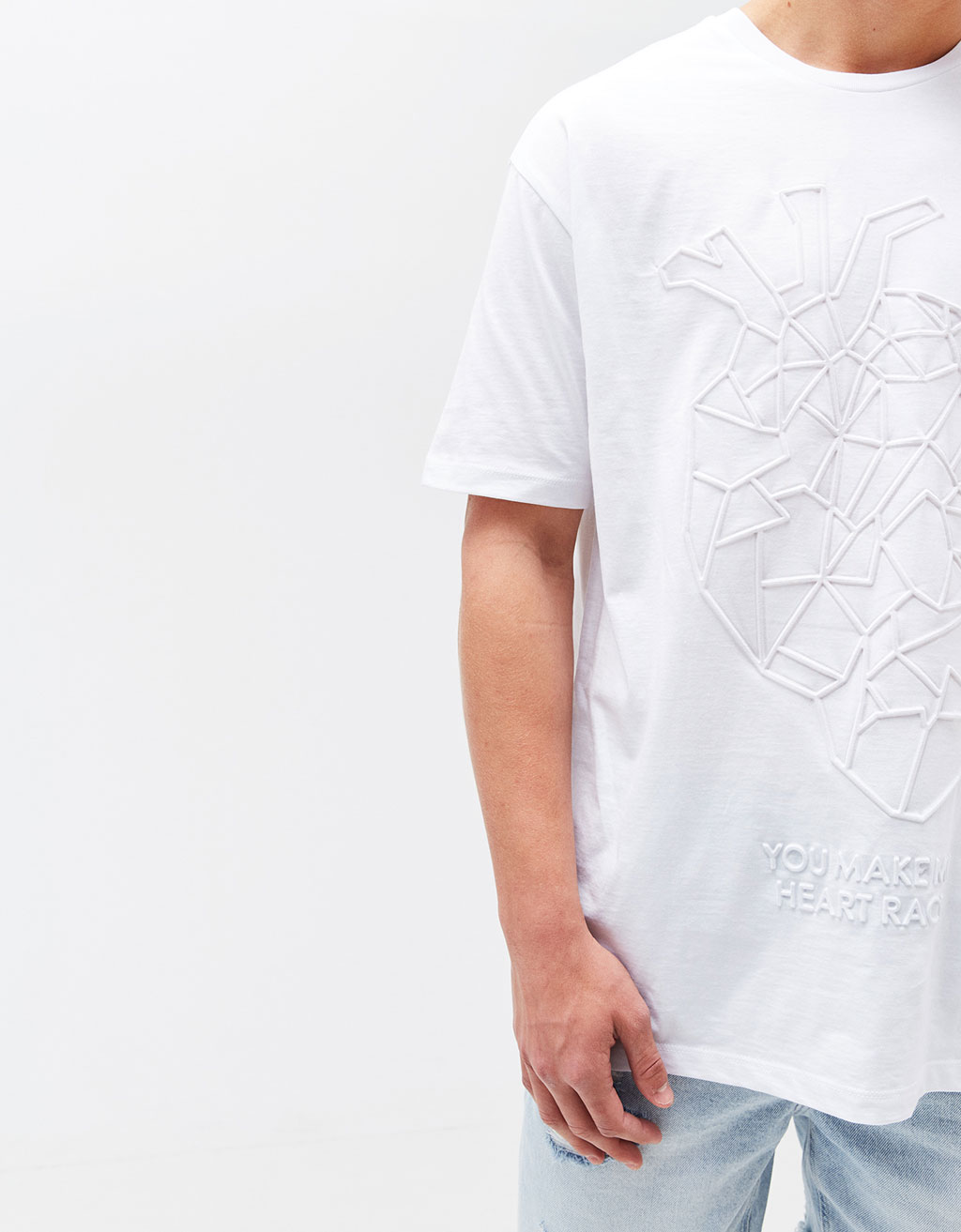 Raised Wolf/Heart print T-shirt