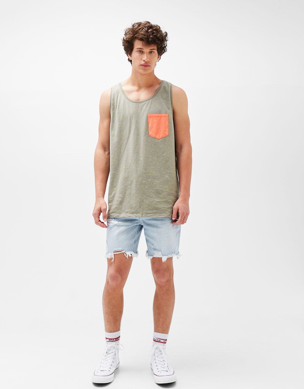 Speckled tank top with contrasting pocket