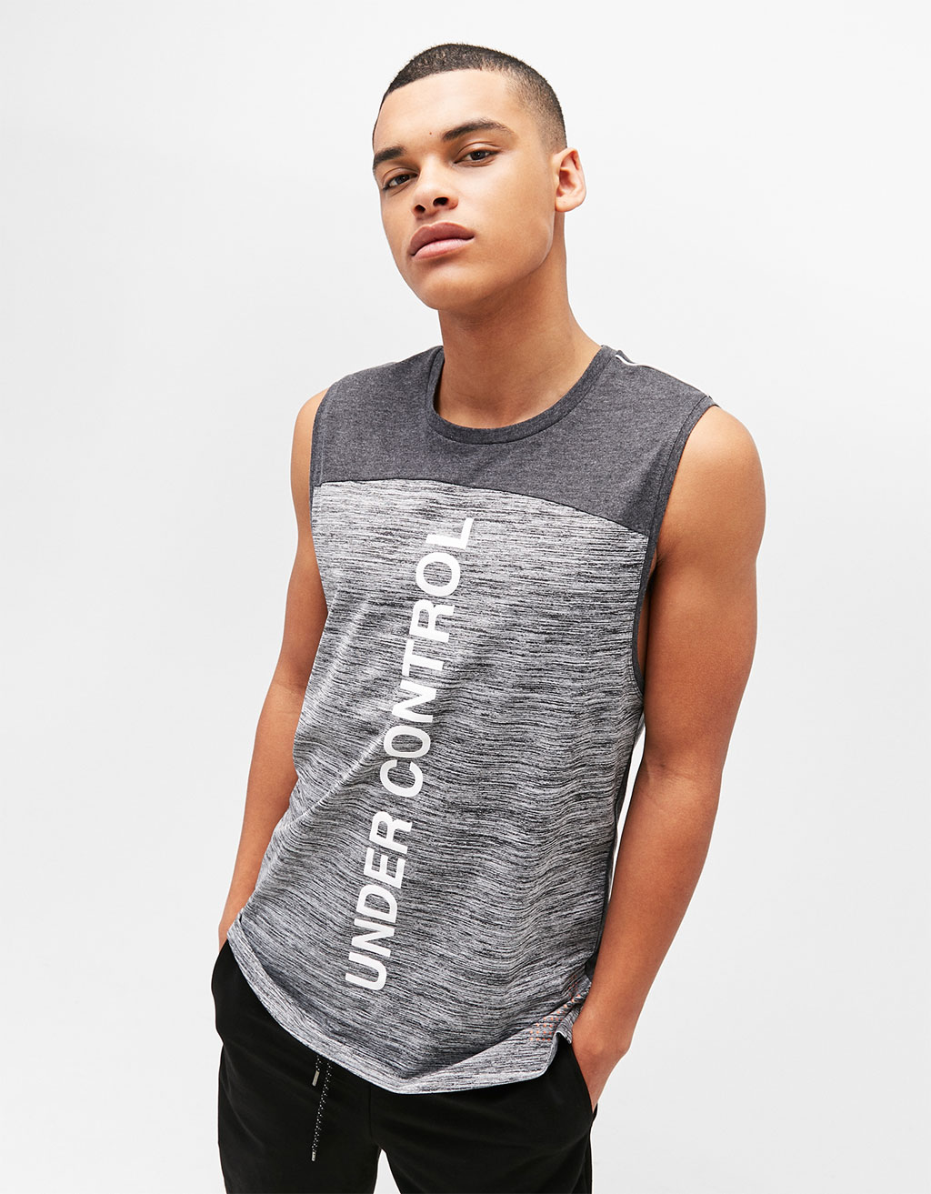 Strappy technical sports top with slogan
