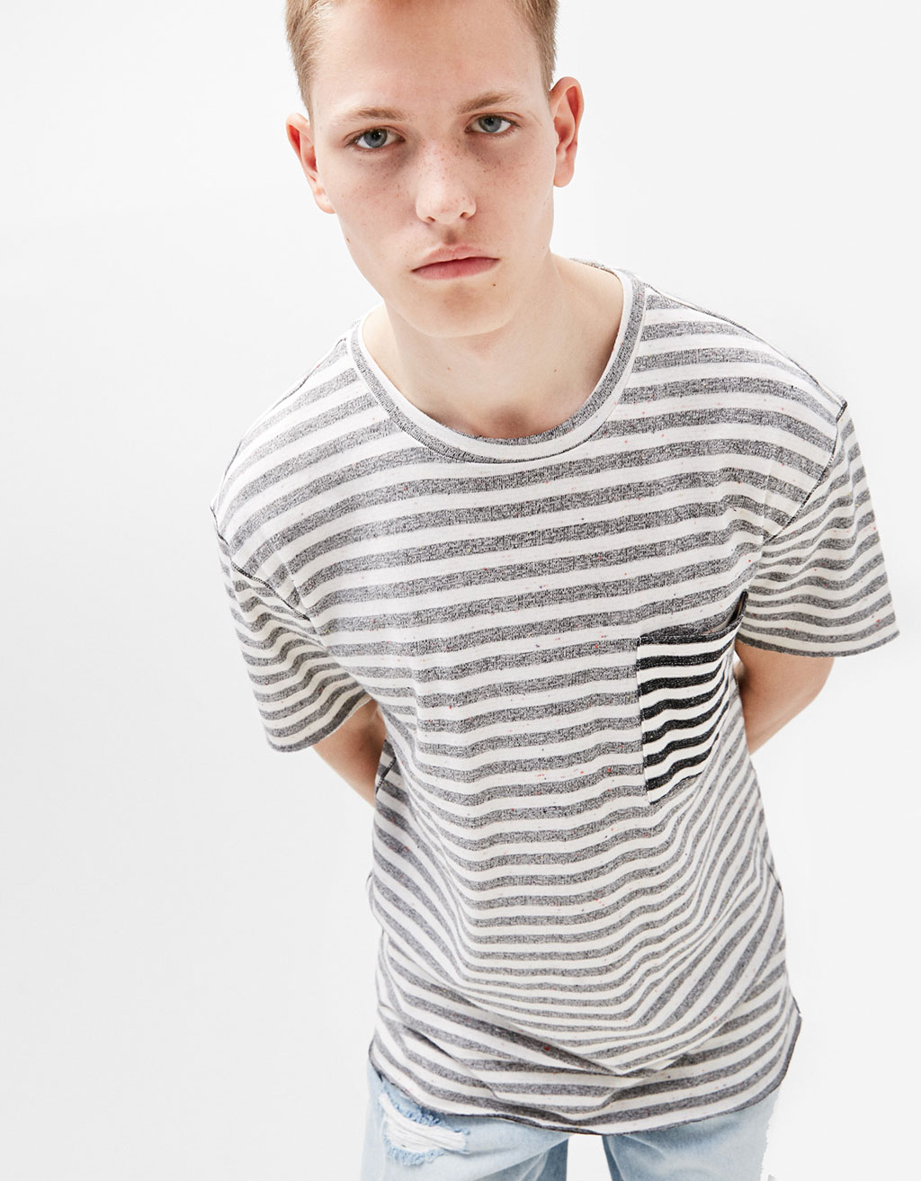 Striped textured T-shirt with pocket detail
