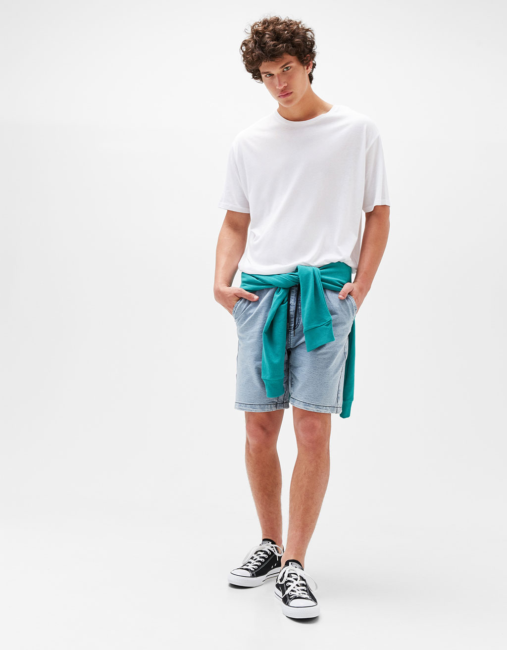 Acid-wash fleece Bermuda shorts