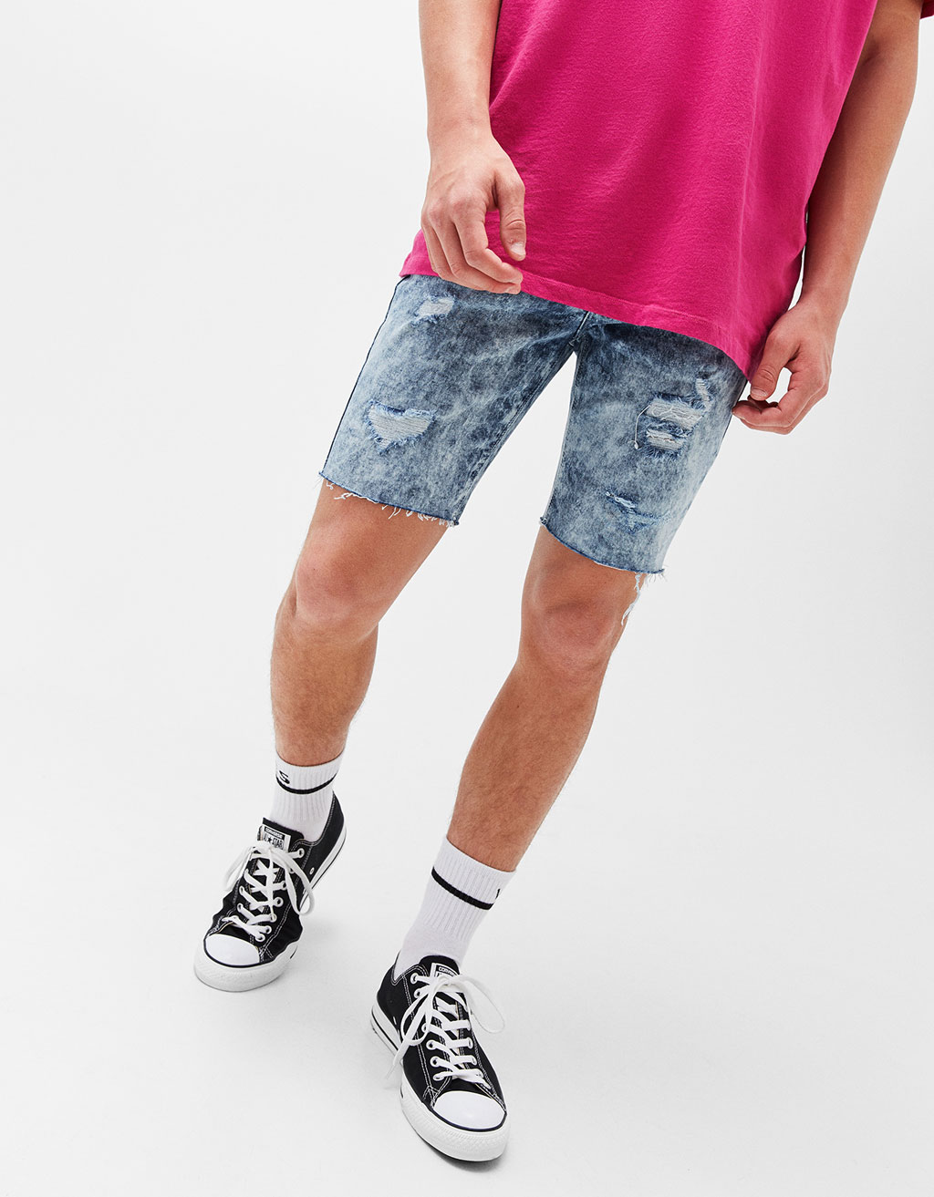 Super skinny denim Bermuda shorts
