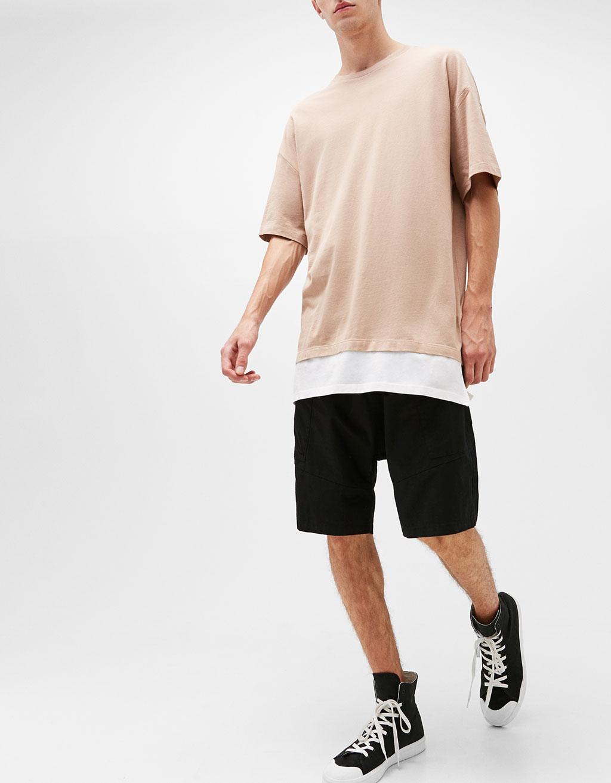 Baggy cotton Bermuda shorts