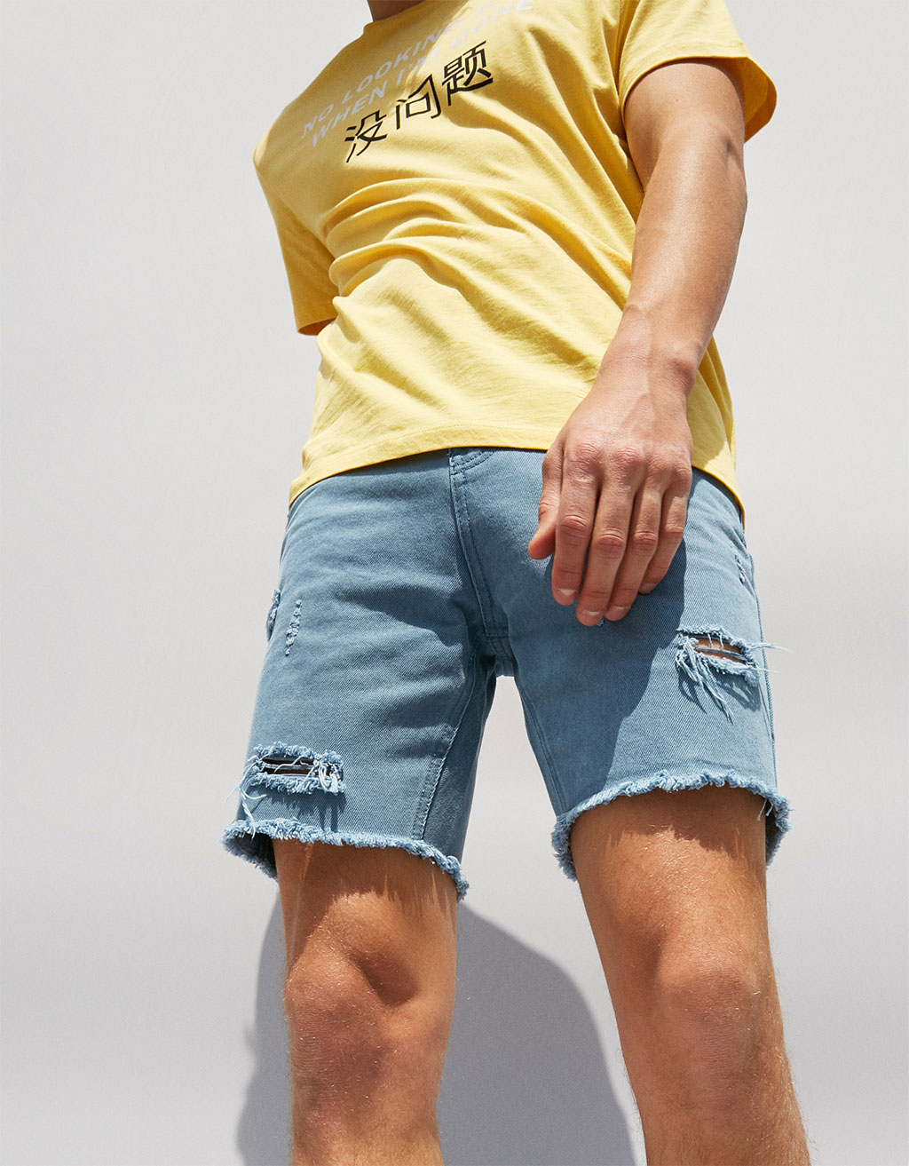 Ripped straight fit bermuda shorts