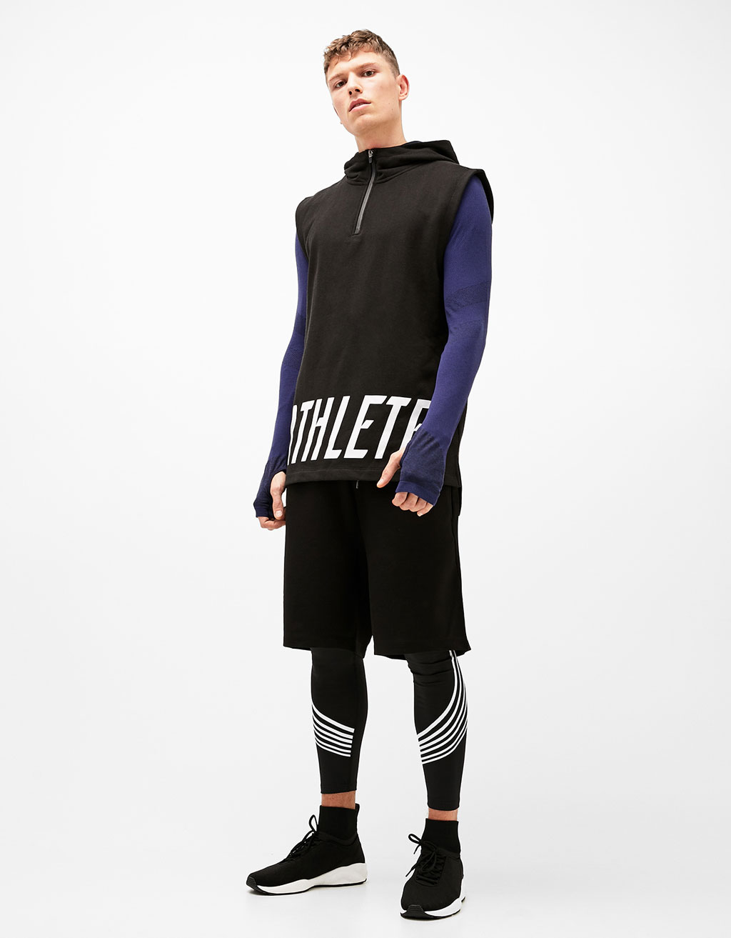 'Athlete' hooded sports sweatshirt