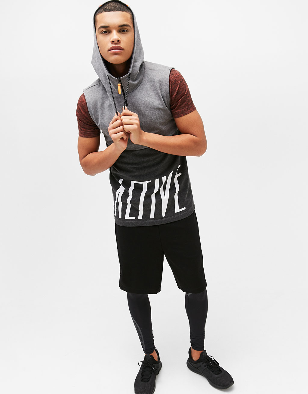 'Active' sleeveless sweatshirt with hood