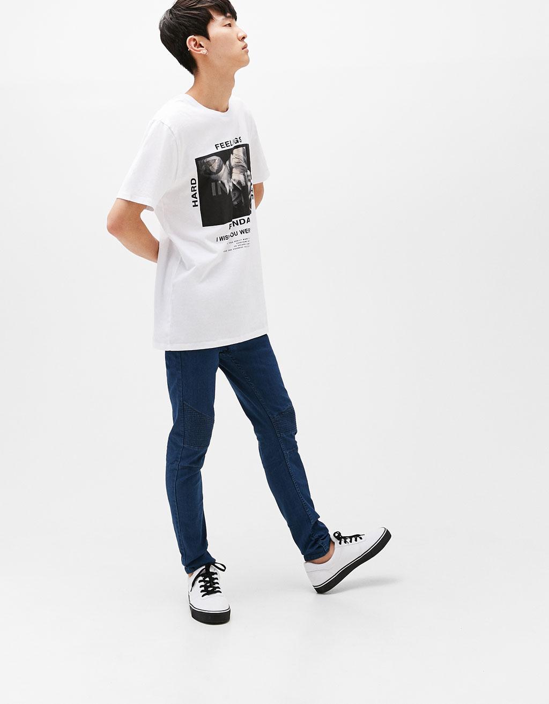 Medium waist skinny biker jeans