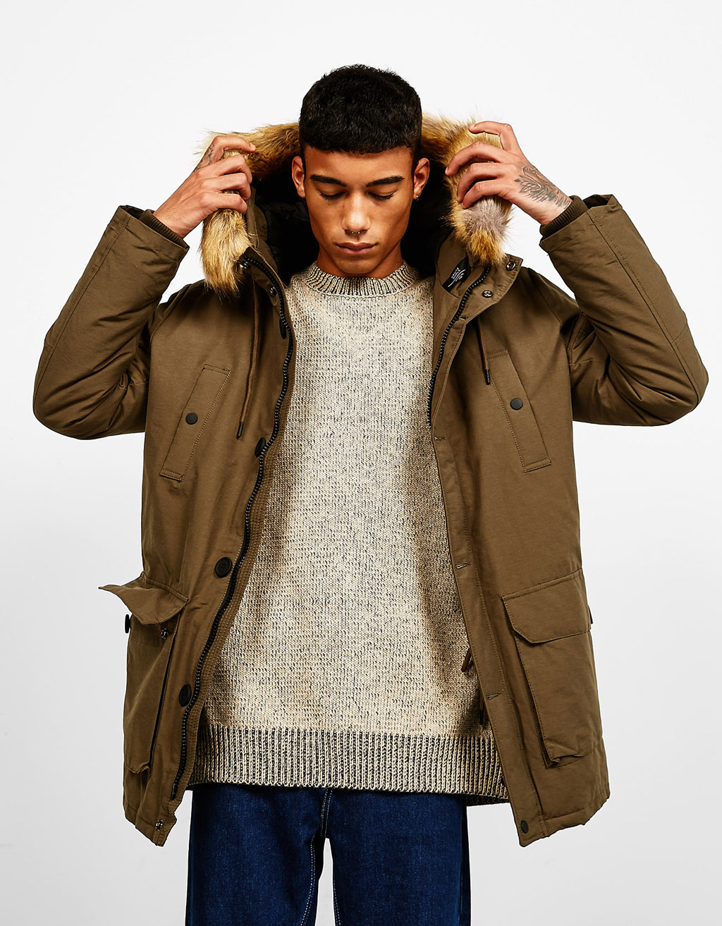 Coat with hood and detachable faux fur trim