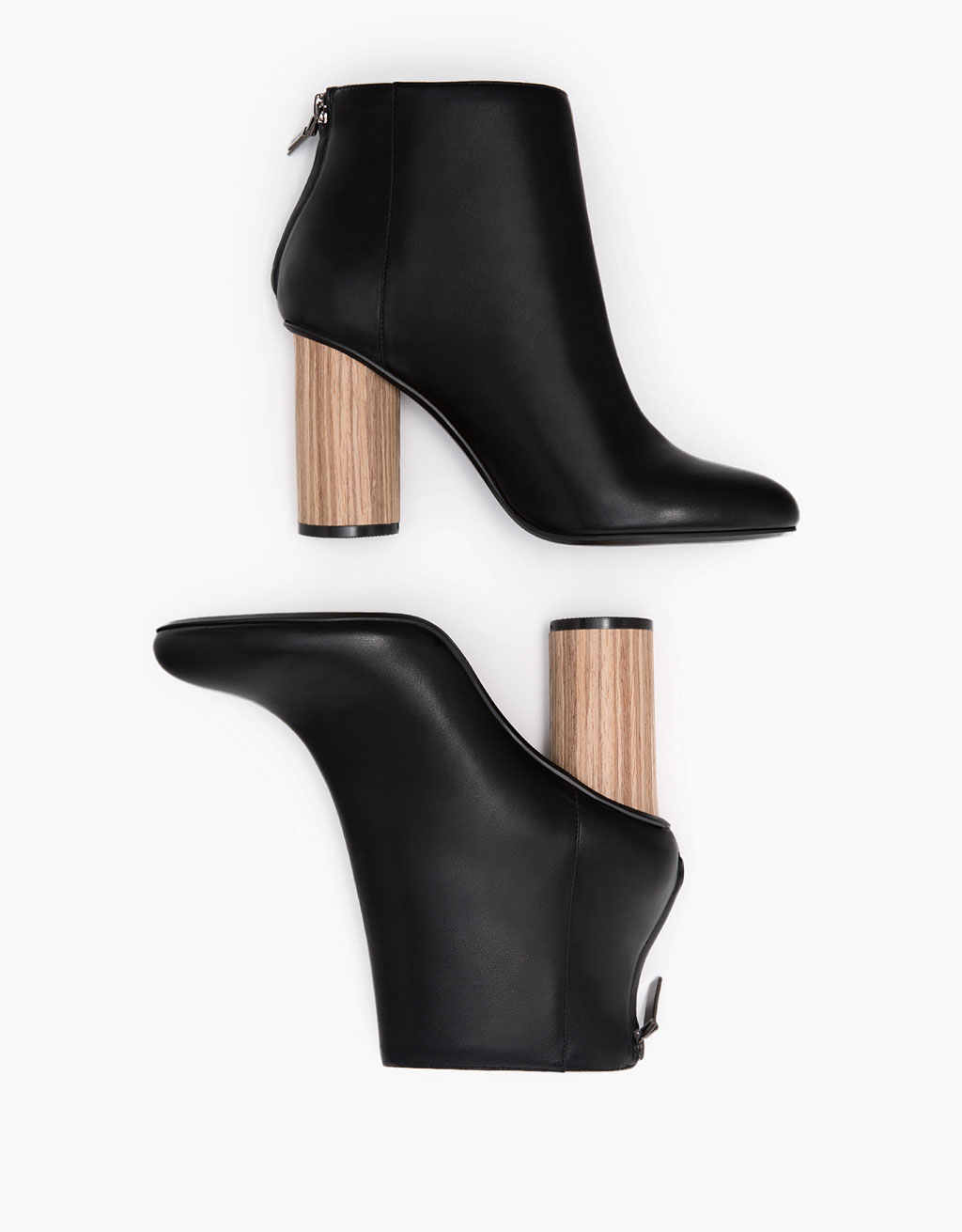 Ankle boot with wood effect heel and zip