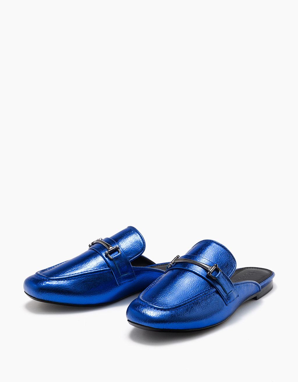 Metallic flat slingback shoes