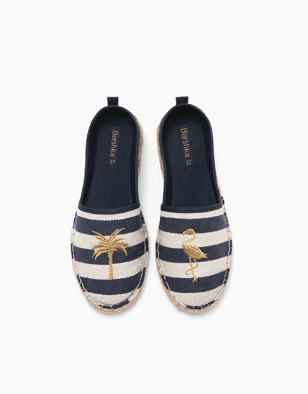 Striped fabric jute sandals