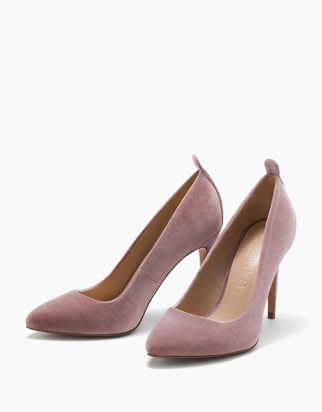 Velvet stiletto heel shoes