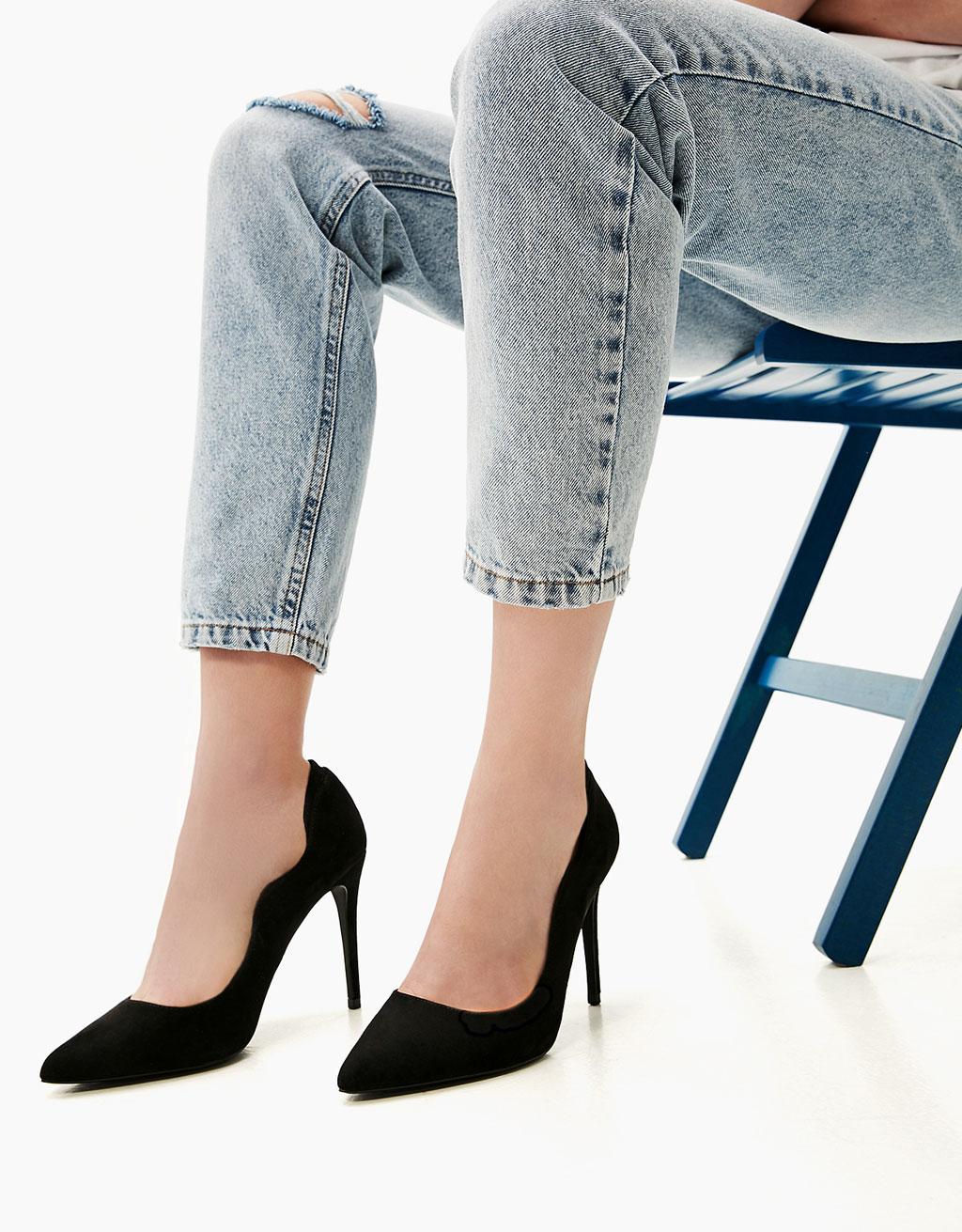 Scalloped stiletto heel shoes