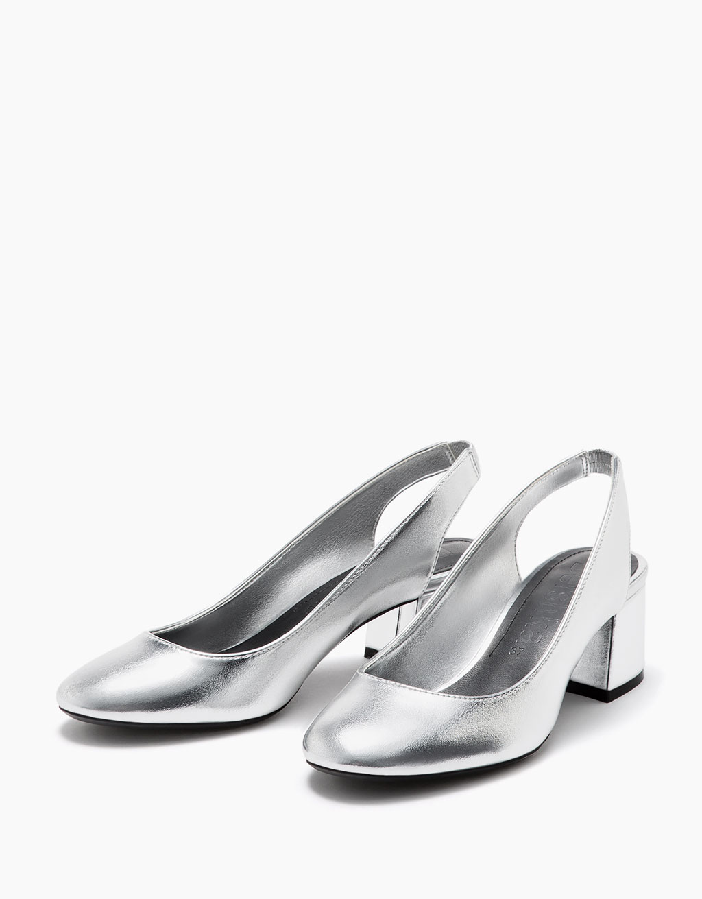 Shiny metallic slingback ballerinas with heel