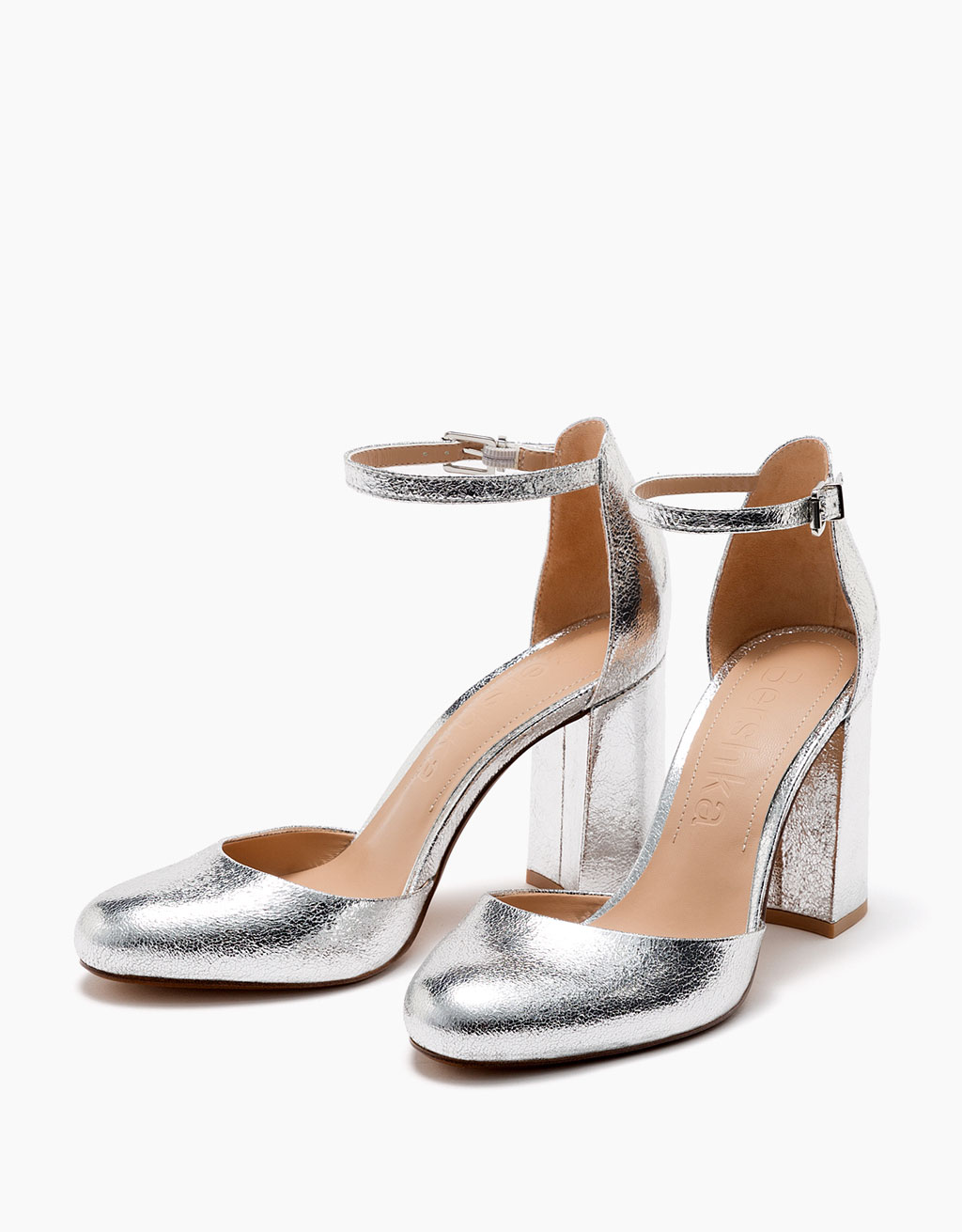Metallic block-heeled d'orsay shoes