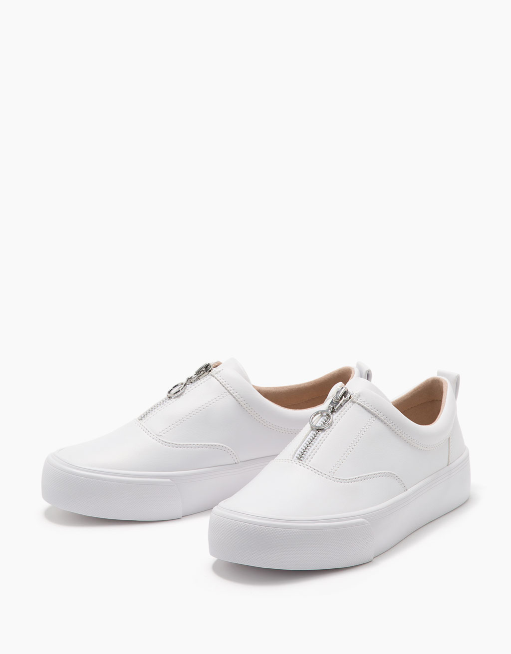 Single coloured sneakers with front zip