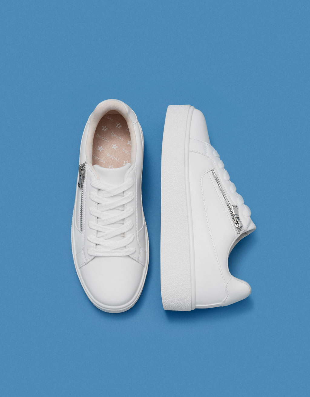Lace-up platform sneakers with zip detail