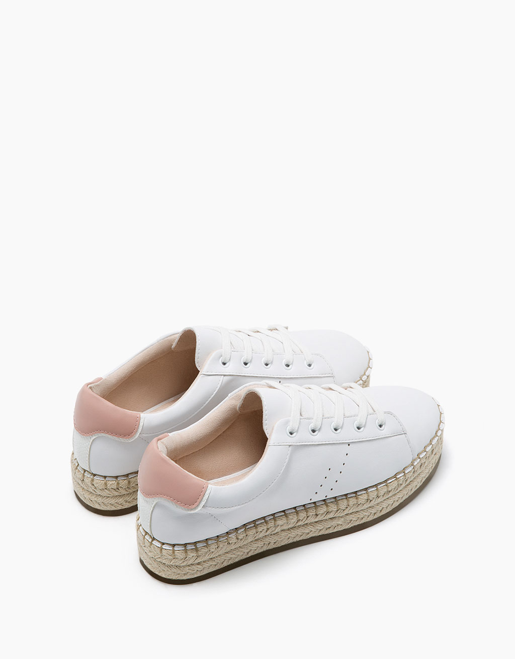 Lace-up sneakers with jute platform