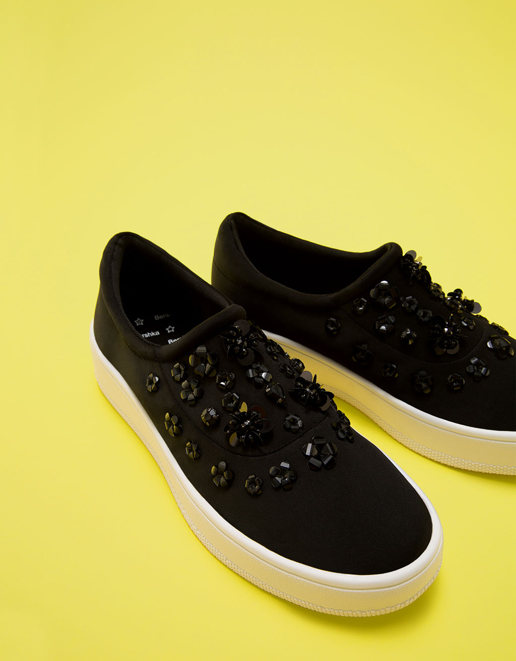 Neoprene sneakers with gems and elastic detail. No laces.