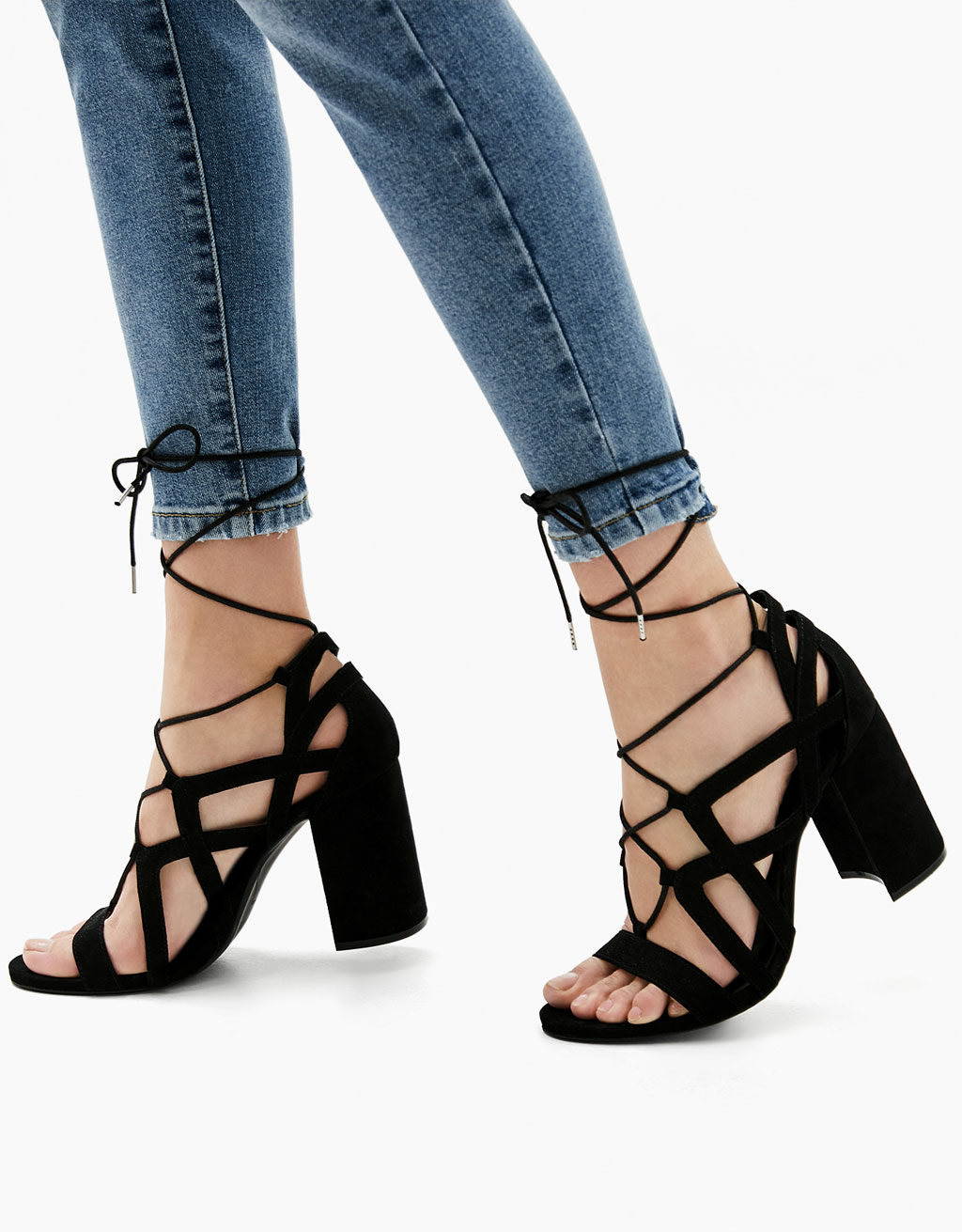 Block high heel sandals with straps and laces