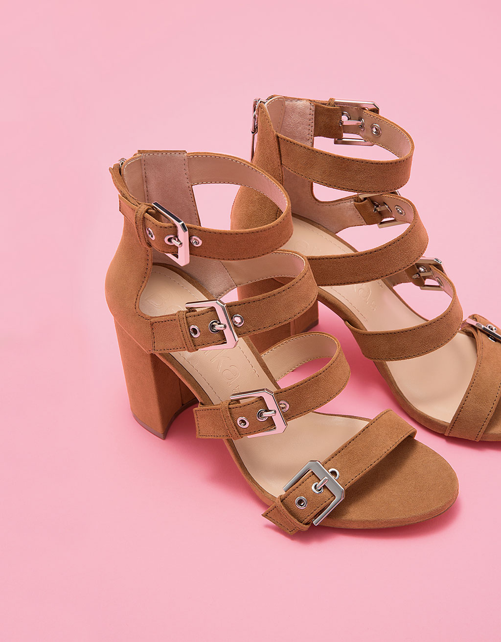 Block high heel sandals with straps and buckles
