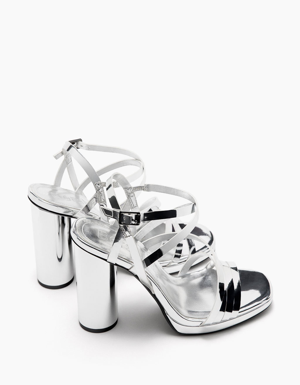 High heel platform sandals with metallic straps