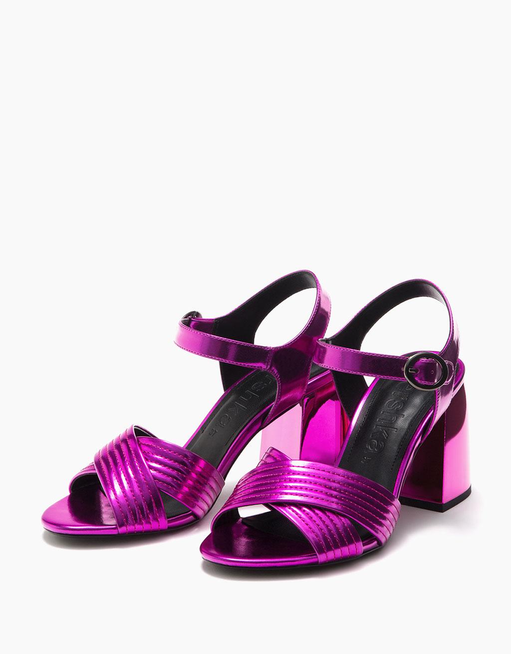 Metallic mid heel cross strap sandals