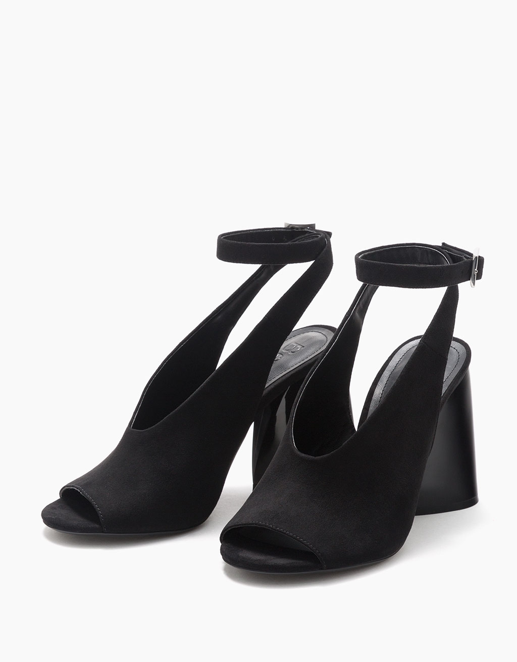 Asymmetric mid-heel sandals