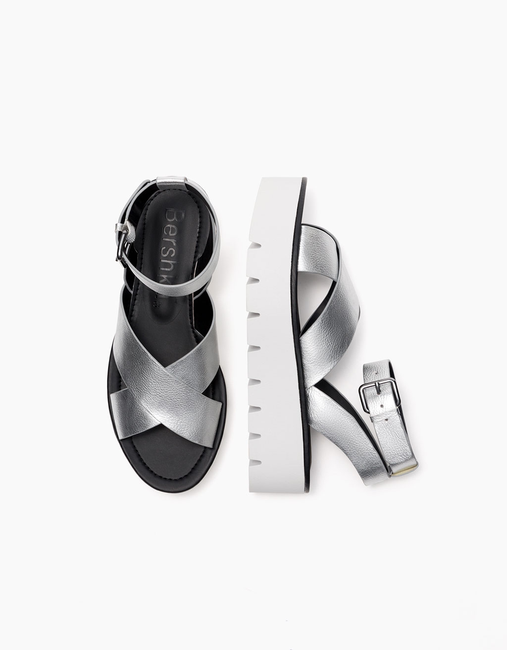 Metallic cross strap platform sandals