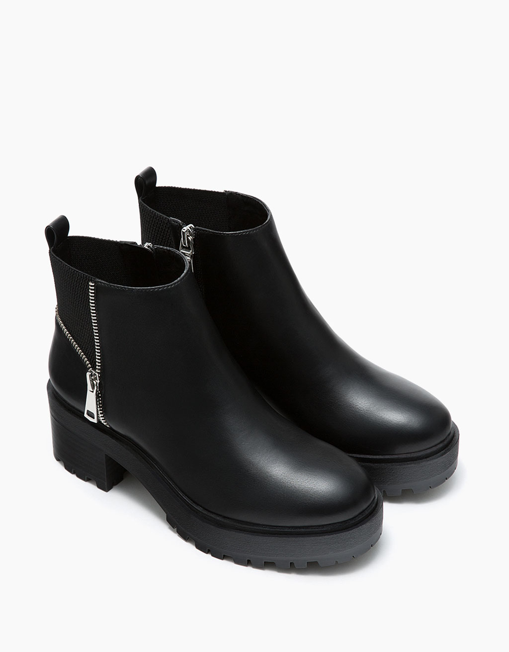 Flat platform ankle boots with zip and elastic