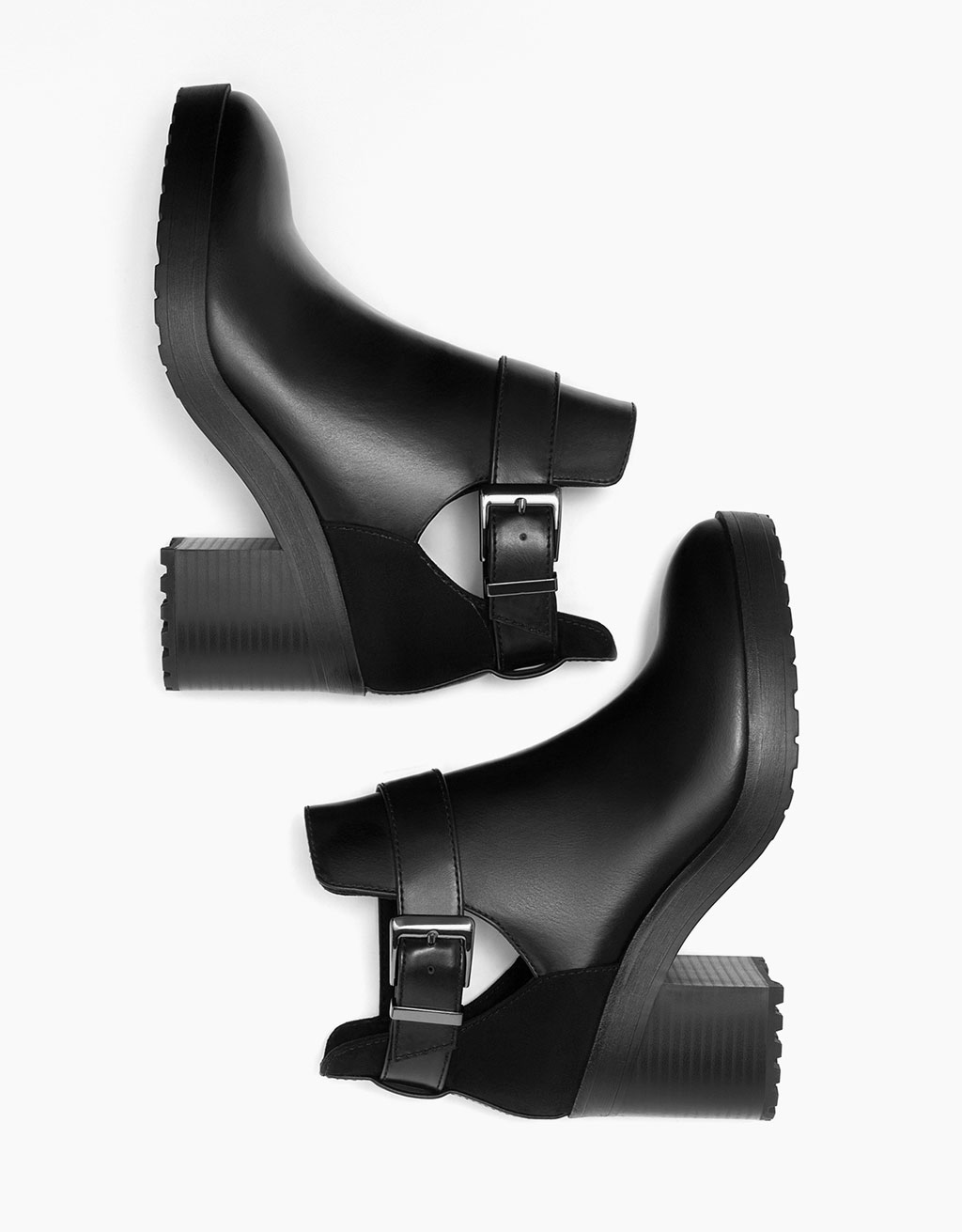 Mid heel cut out platform ankle boots