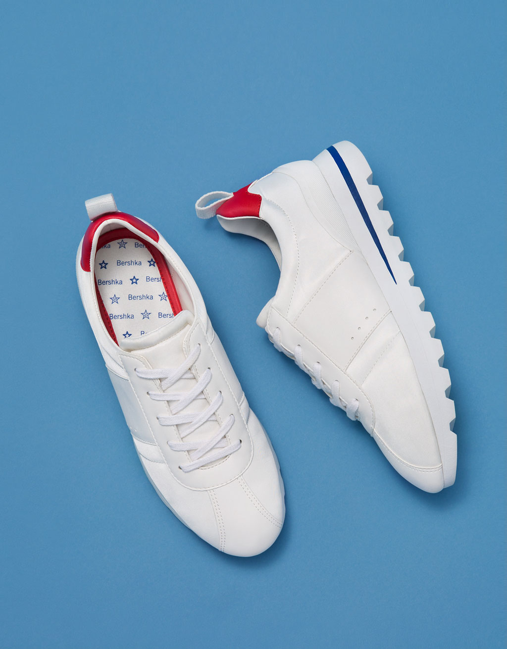 Studded-sole retro sneakers with colour detail