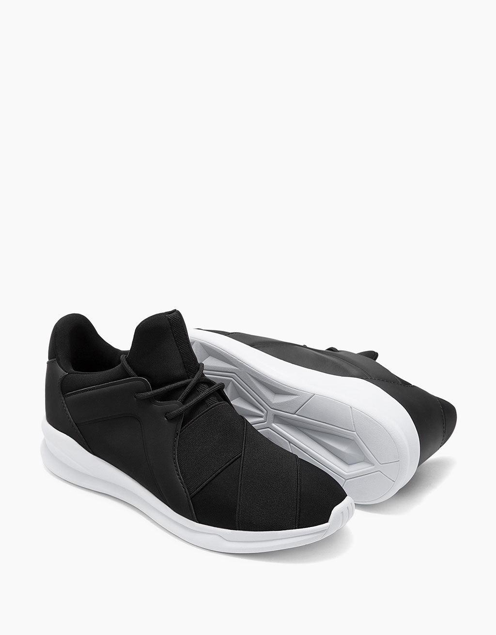 Elastic technical sneakers with pull-up tab