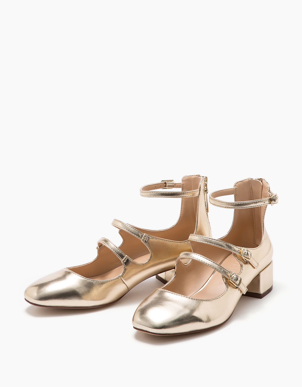 Heeled ballerina shoes with shiny metallic straps