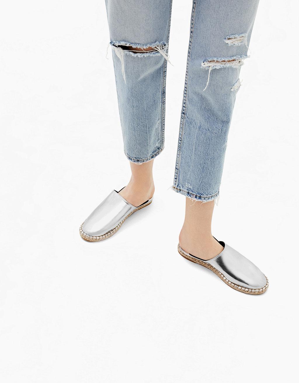 Babucha-style metallic jute flat shoes