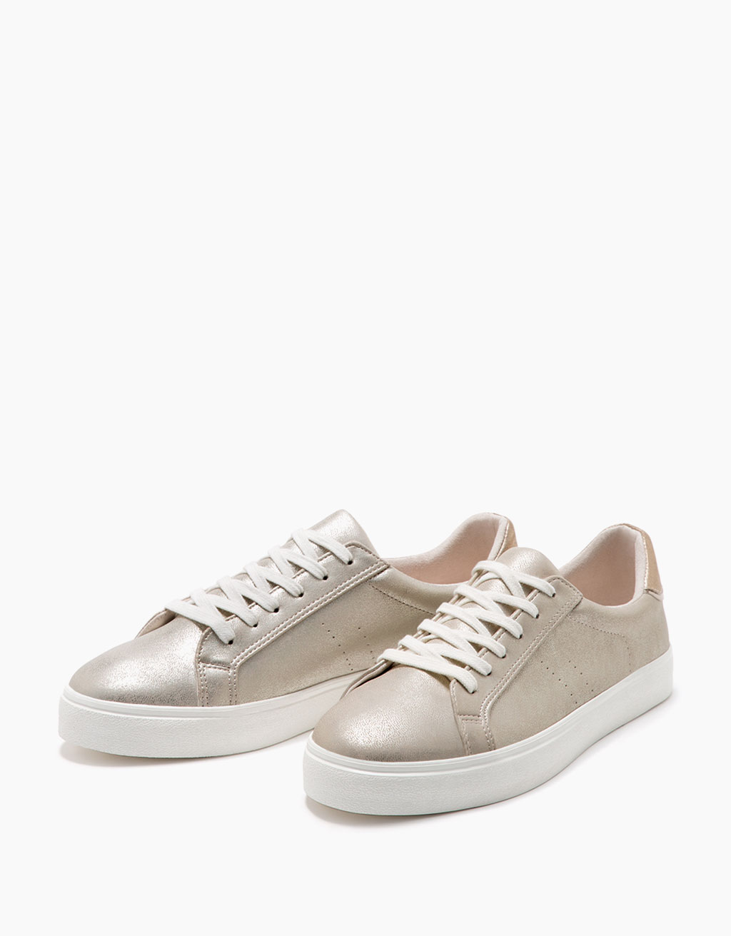 Lace-up shiny metallic sneakers
